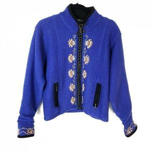Icelandic Design Blue Nordic Floral Wool Jacket M